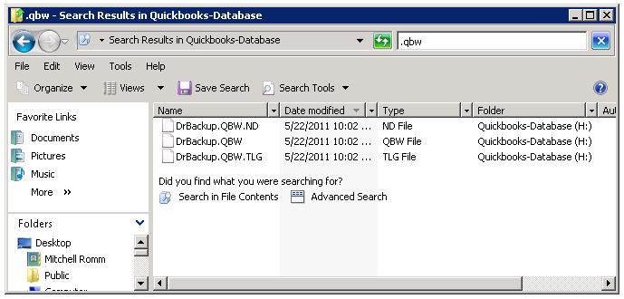 Quickbooks file search