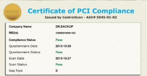 Dr.Backup PCI Scan Compliance Certificate